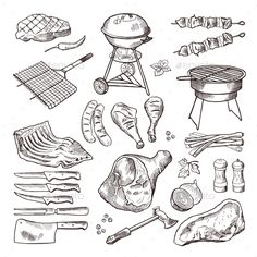 Bbq vector hand drawn illustration set. Grilled meat and other accessories for barbecue party. Grill meat for bbq, barbecue sausag