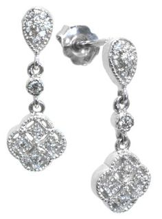 Diamond earrings with 0.18ct tdw in 14k white gold | #vintage #wedding #details