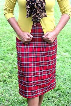 Jade Mackenzie Apparel | Modern Modest Apparel - Red Plaid Premium Pencil Skirt