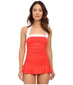 LAUREN Ralph Lauren Bel Aire Shirred Bandeau Skirted Mio Slimming Fit w/ Soft Cup Coral - 6pm.com