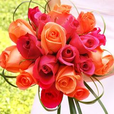 Wedding, Flowers, Pink, Orange, Bridesmaids
