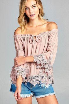 3/4 Flare Bell Sleeve Lace Crochet trim Keyhole Gauze Boho Top Dusty Pink USA #Undisclosed #Blouse