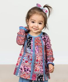 New Frontier Top - Matilda Jane Clothing Baby & Toddler Fashion 2018 - This patchwork printed top with trim down the front is a fun, easy top for play! The unique placement of the print makes each one truly one of a kind! Little Girl Outfits, My Little Girl, Kids Tops, Matilda Jane, Cute Baby Clothes, Baby Sewing, Toddler Fashion, Passion For Fashion, Pink Blue