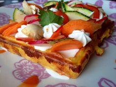 Gaufres avec des légumes. Une autre façon de déguster les gaufres ! Lidl, French Toast, Cooking, Breakfast, Desserts, Food, Waffles, Strawberry Fruit, Food Porn