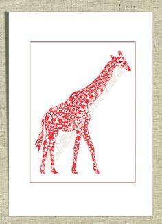 Baby Nursery Decor Giraffe Cute Animal Art by Flissitations, £13.50