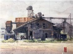 """THE RUSTIC NADA-2 """"Cotton Gin """" 11x14 Pleinair Watercolor Location: Nada,Texas Richie Vios Cotton Gin, Texas, Industrial, Watercolor, Rustic, Painting, Art, Pen And Wash, Art Background"""