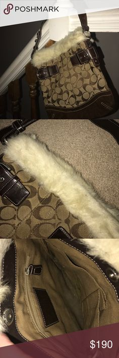 Coach Bag wth Fur Trim Cute Coach bag with a fur trim and a suede bottom. A zipper pouch on the inside along with two small compartments. Hardly been used. Coach Bags Totes