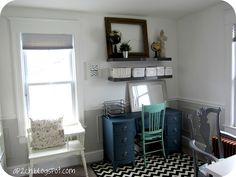 Bright White Home Office #office #clean #white #chevron