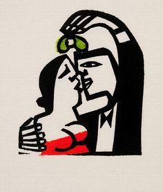 "Willie Rodger ""Wee Kiss (lino print) "" -slap some paint down before going over with the linoleum"