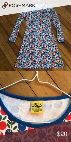 DUNS Sweden Kid's 11-12 Organic Berry Dress GOTS certified organic cotton dress with berry print. Size 152 which is equivalent to 11-12 years. Worn once or twice. Very soft and comfortable. DUNS Sweden Dresses Casual