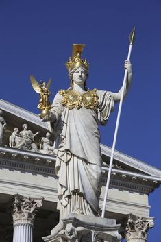 Athena Statue in Front of the Parliament Building, Vienna, Austria. Greek Statues, Angel Statues, Buddha Statues, Ancient Greek Art, Ancient Greece, Roman Sculpture, Sculpture Art, Poseidon Statue, Greece Mythology