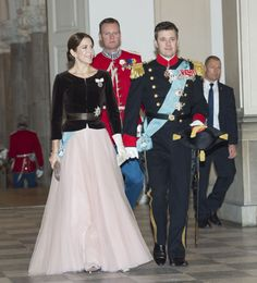Crown Prince Frederik of Denmark and Crown Princess Mary of Denmark attends a new years banquet held at Christiansborg Palace for the military and the Danish Emergency Management Agency and Rank class, as well as representatives of major national organizations and royal patronage. 07 January 2015