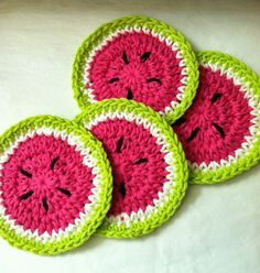 Lakeview Cottage Kids: Summer is Coming!!! FREE Pattern! Crochet Watermelon Coasters.  FREE PATTERN 7/14.