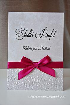 Papeteria dla Ciebie: Karty Stołów - Słodki Bufet Piękne tłoczone karty na stół z łakociami!