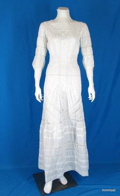 Antique Edwardian TEA DRESS White Cotton Eyelet Embroidery & Lace