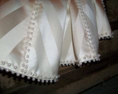 "Stunning Pearl Hand Beaded White on White 58"" Christmas Tree Skirt 2014 Collection"