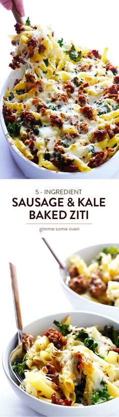 All you need are 5 ingredients for this easy Sausage & Kale Baked Ziti recipe. Quick and easy to make, and always a crowd favorite! | gimmesomeoven.com