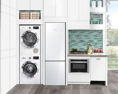 Marvelous Tiny Apartment Laundry Room Decor Ideas - Page 13 of 39 Tiny House Appliances, Laundry Appliances, Small Kitchen Appliances, Small Kitchens, Kitchen Cost, Bosch Appliances, Small Bathrooms, Kitchen Shelves, Kitchen Layout