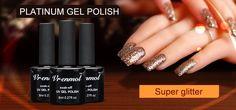 Vrenmol 1pcs Platinum Glitter UV Gel Nail Art Polish Vernis Semi Permanent Long Lasting Shimmer Diamond LED/UV Gel