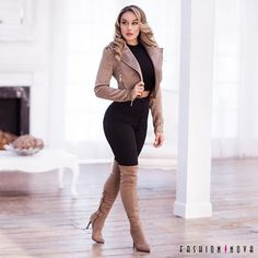 Ideas for fashion nova outfits fall boots Winter Outfits For Teen Girls, Fall Winter Outfits, Autumn Winter Fashion, Mode Outfits, Casual Outfits, Casual Shoes, Outfits With Boots, Tan Boots Outfit, Green Shorts Outfit