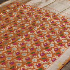 Yellow-Orange Pure Katan Silk Banarasi Handloom Saree