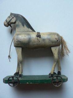 "German Antique Wooden Horse On Wheels Pull Toy Folk Art Nice 8 1/2"""