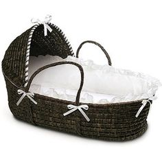 Badger Basket - Espresso Moses Basket with Hood and White Bedding