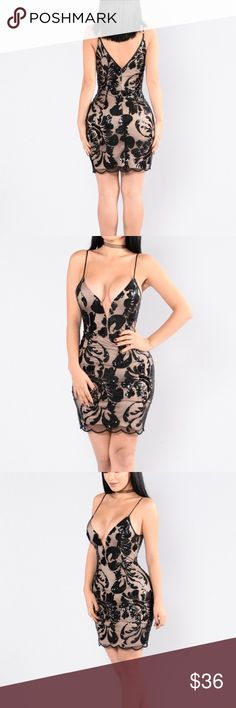 Black sequin mini dress Wore once for a night out and got so many compliments and compliments on how well it fit my body. True to a small size. Has adjustable spaghetti straps, knee length, wired V neck, with a nude lining.                                                              -No trades                                                                 🖤30% off a bundle of 5 or more items🖤 Dresses Mini