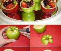 تفنني في تقديم الفاكهة في سلة من التفاح