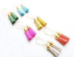 Mini Tassel Earrings Leather Tassel Jewelry by SweetAuburnStudio, $25.00