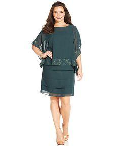 372d4943d86 Le Bos Plus Size Chiffon Tiered Dress and Capelet Women - Dresses - Macy s