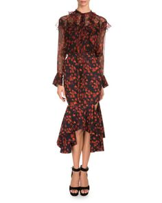 -6MKF Givenchy  Long-Sleeve Floral-Print Poet Blouse, Red Lace-Trim Camisole, Black Floral-Print Draped Flounce-Hem Skirt, Red