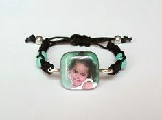 Custom Photo Macrame Bracelet | HCLTreasures - Jewelry on ArtFire