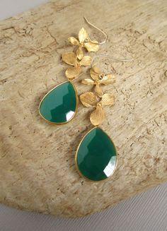 Green Agate Earrings Long 18K Gold Vermeil by julianneblumlo, $125.00