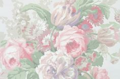 Vintage Wallpaper - Beautiful Large Cabbage Rose with Pinks, Greens, and Purples