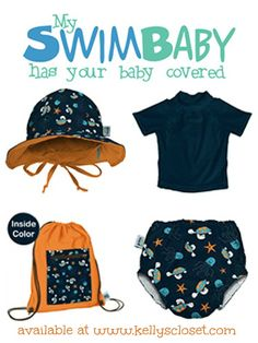 My Swim Baby set available now at Kelly's Closet - reusable cloth swim diapers, sun hat, UV shirts, and swim bags http://www.kellyscloset.com/My-Swim-Baby_bymfg_137-0-1.html