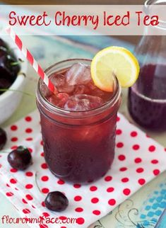 Iced Tea Sweet Cherry Iced Tea hits the spot on a hot summer day. I think it's the perfect summer beverage recipe.Sweet Cherry Iced Tea hits the spot on a hot summer day. I think it's the perfect summer beverage recipe. Summer Drink Recipes, Summer Drinks, Fun Drinks, Healthy Drinks, Beverages, Healthy Food, Cold Drinks, Nutrition Drinks, Sweet Tea Recipes