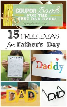 Fun and FREE printable Father's Day cards, activities & ideas for kids to give Dad this year! Easy kid made items, homemade cards and funny activities for Dad or Grandpa! Free Fathers Day Cards, Fathers Day Art, Happy Fathers Day, Fathers Day Gifts, Gifts For Dad, Diy Father's Day Gifts Easy, Great Father's Day Gifts, Father's Day Diy, Father's Day Activities