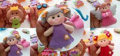 Lila Bebek Kız Keçe Magnet Bebek Şekeri