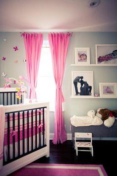 #nursery, #shelf, #crib, #curtains, #pink  Photography: Danfredo Photography (www.danfredophotography.com) - danfredophotography.com  Read More: http://www.stylemepretty.com/living/2012/07/30/smp-at-home-spotlight/