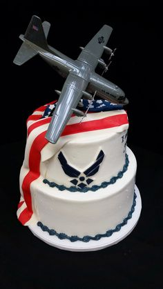 Cookie Jar graduation cake I Air Force cake I patriotic cake I red, white and blue cake I