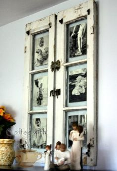 How to Frame Pictures Using a Salvaged Window - via Coffee With the Mrs.