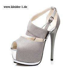 Neue Trend Plateau High Heels Sandaletten in Silver