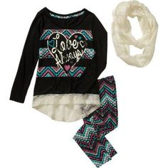 One Step Up Girls' that Lace Scarf Life 3 Piece Top with Glitter Art & Lace Hem, Lace Scarf and Printed Leggings Set, Size: 7/8, Multicolor