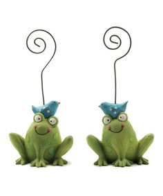 Take a look at this Frog & Bluebird Note Holder - Set of Two by Blossom Bucket on #zulily today!
