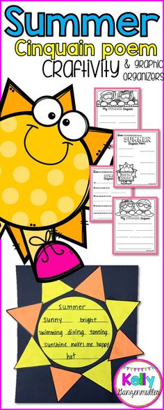 Summer Poetry graphic organizers and craft, perfect for a wide range of writers. Poetry Activities, Interactive Activities, Holiday Activities, Activities For Kids, Cinquain Poems, Hallway Displays, Poetry For Kids, End Of School Year, Teaching Language Arts