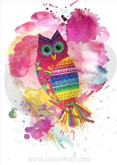 Buho, imagen digital, para imprimir, buho dibujo, buho original, colorido, acuarelas, animales, aves, decoracion, diy