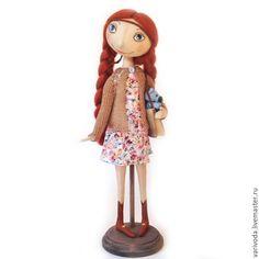 Интерьерная кукла Ксюша - коричневый, тыквоголовка, интерьерная кукла, коллекционная кукла, текстильная кукла