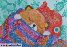 <잠이 든 햄토리, Sleeping HAMTORI, oill pastel, 2014>