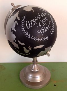 Hand Painted World Globe 8 inch Adventure is Out There Wedding Travel Decor Quote Graduation Gift by DarlingDixonsStudio on Etsy https://www.etsy.com/listing/206027906/hand-painted-world-globe-8-inch